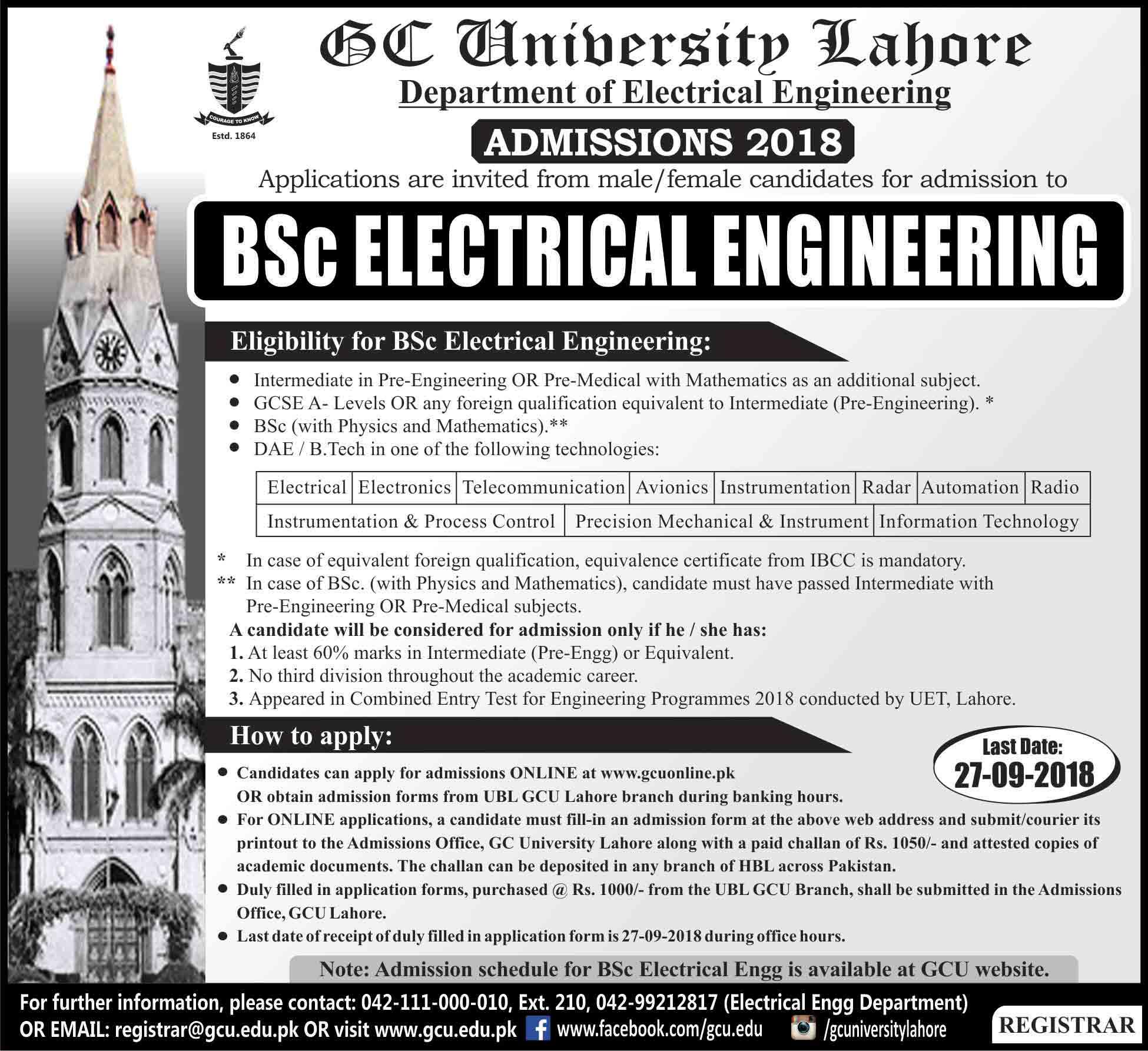 GC University BA/BSc/B Com Admissions 2018 Result pk