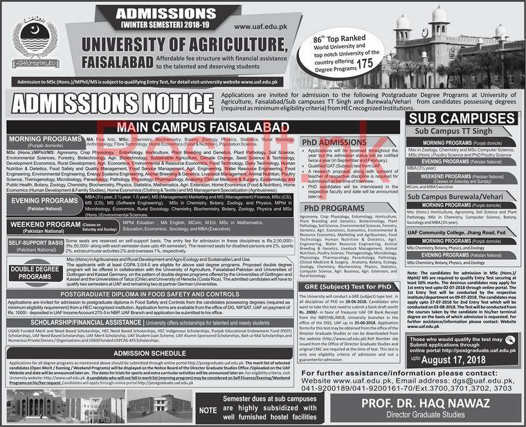 UAF Faisalabad Admission Winter 2018-19 Result pk