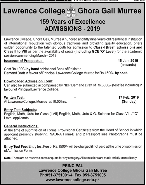 Lawrence College Murree Admission 2019 Result pk