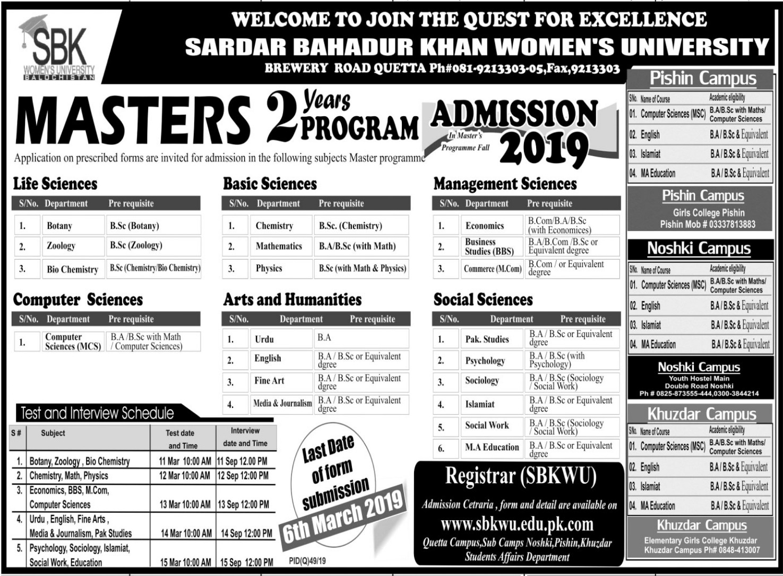 Sardar Bahadur Khan Women's University Admissions 2019 Result pk