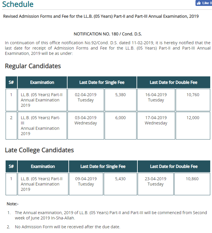 PU LLB Revised Admissions Forms Annual Exams 2019