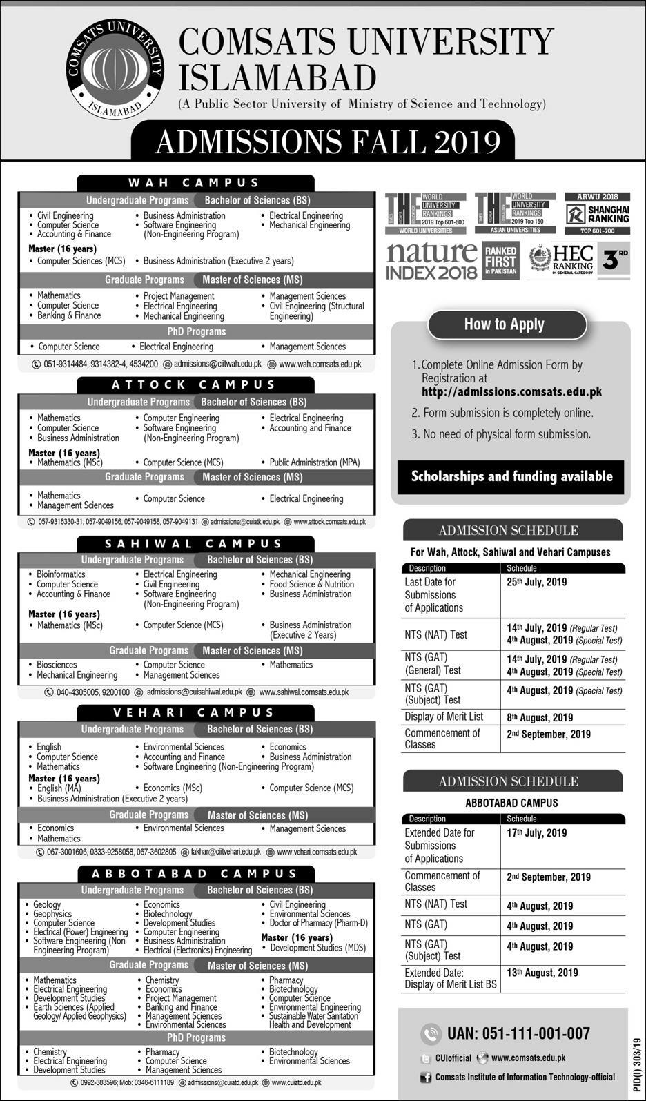 Comsats University Islamabad Admissions Fall 2019 Result pk