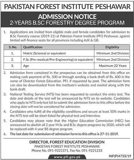 Pakistan Forest Institute Peshawar BSC Admission 2019-21