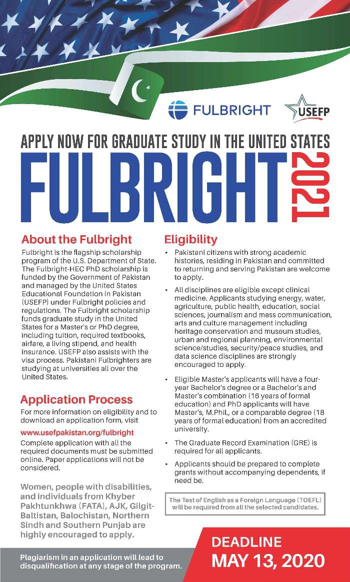 USEFP Fulbright Masters & PhD Scholarships 2020