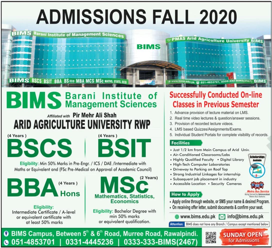 Barani Institute of Management Sciences BIMS Admissions 2020