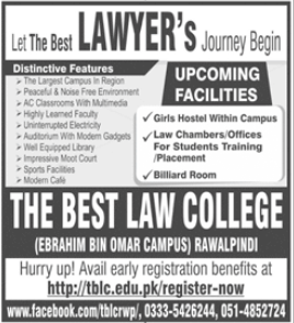 The Best Law College Rawalpindi LLB Admissions 2020