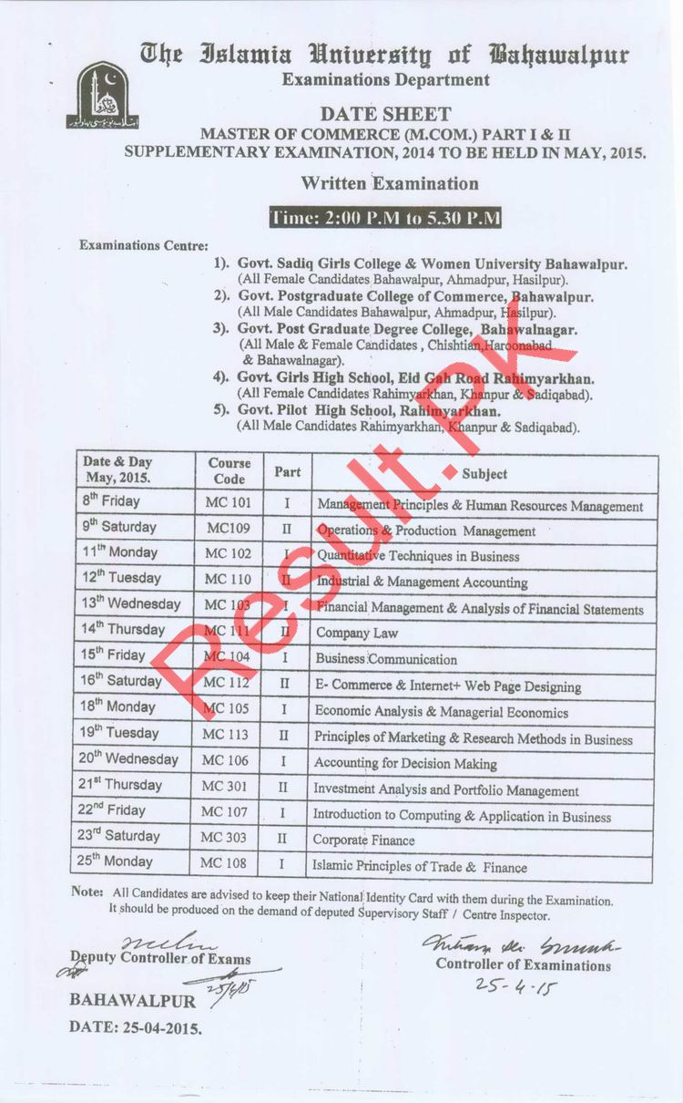Islamia University Bahawalpur Date Sheet 2019 iub Annual