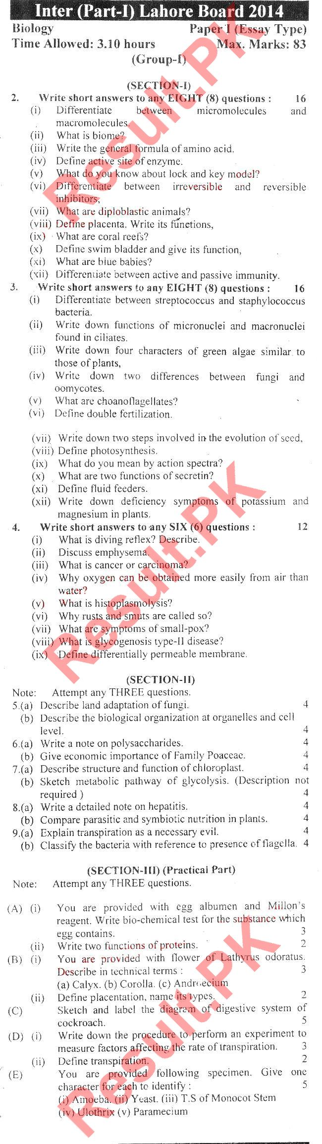 biology intermediate 2 past papers