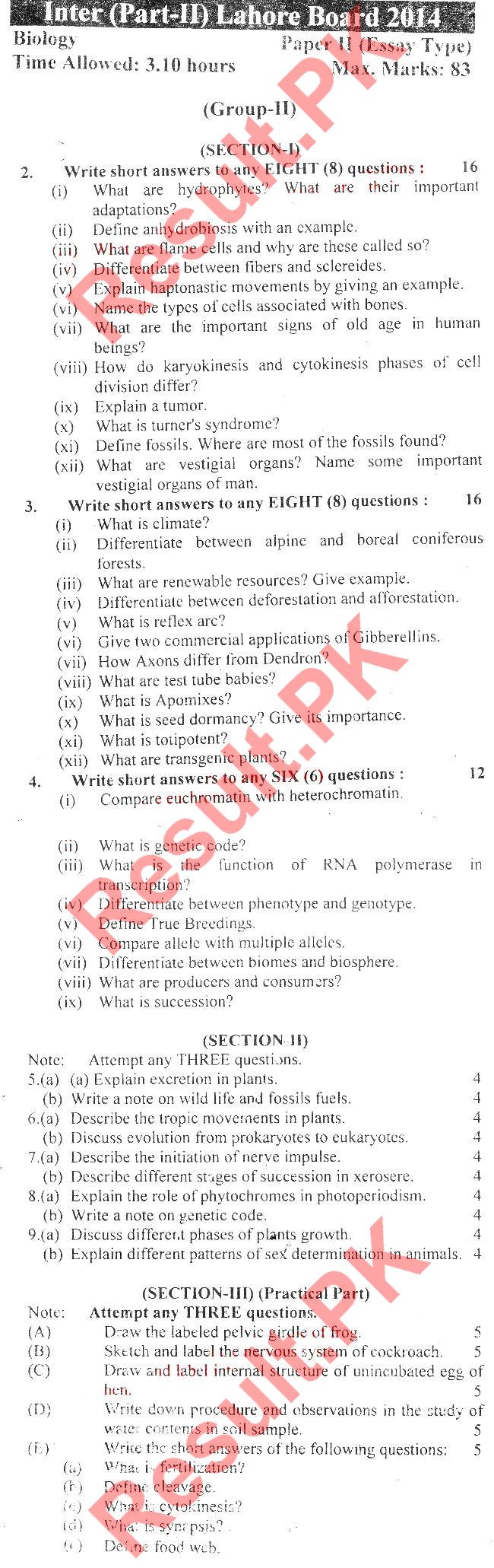 biology essay type questions
