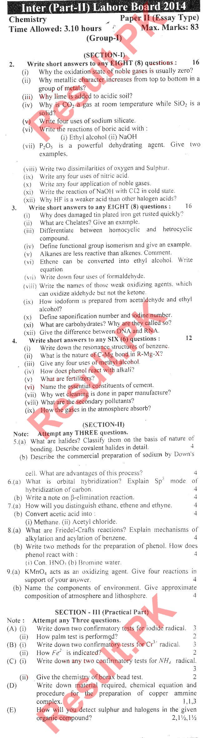 intermediate 2 past papers chemistry