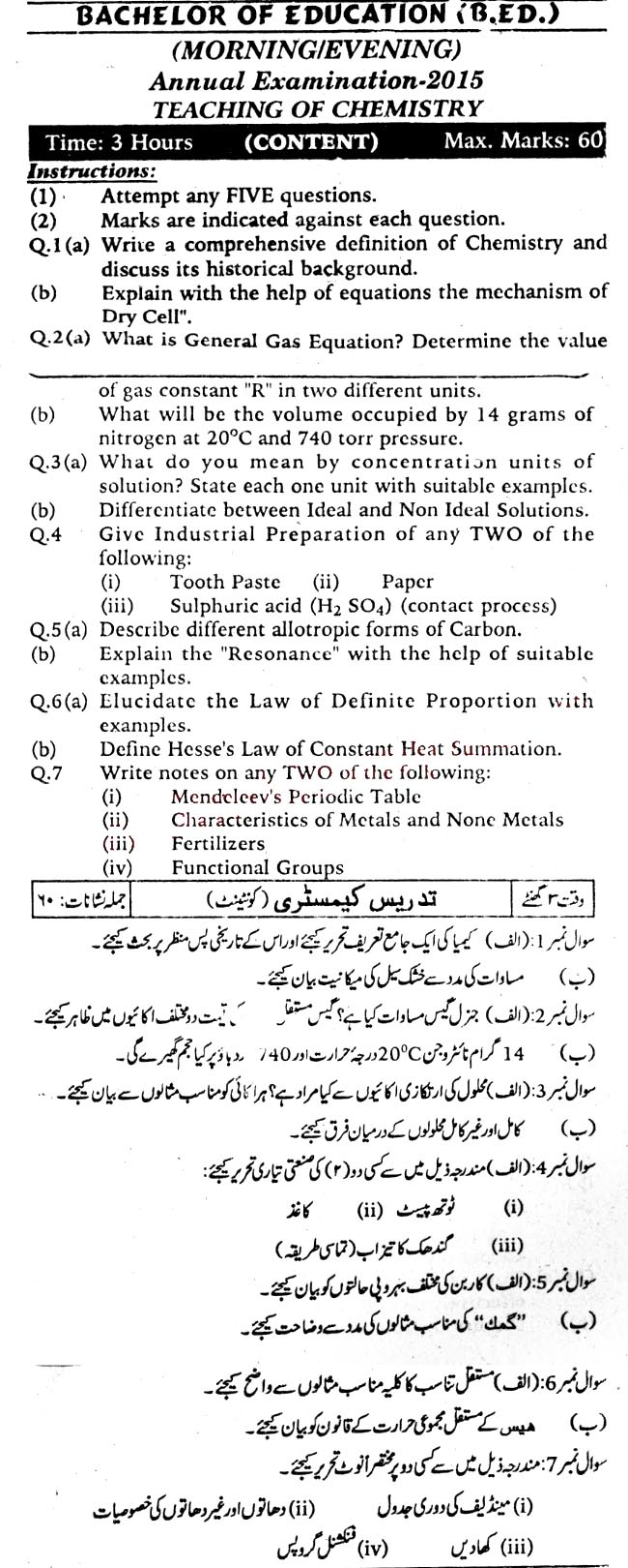 Chemistry Notes For Class 11 Karachi Board