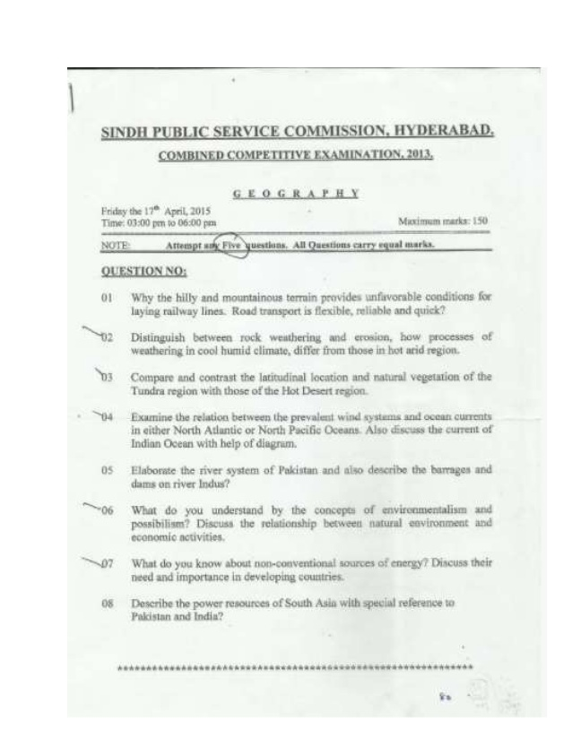 Sindh Public Service Commission Past Papers 2018, 2017, 2016, spsc