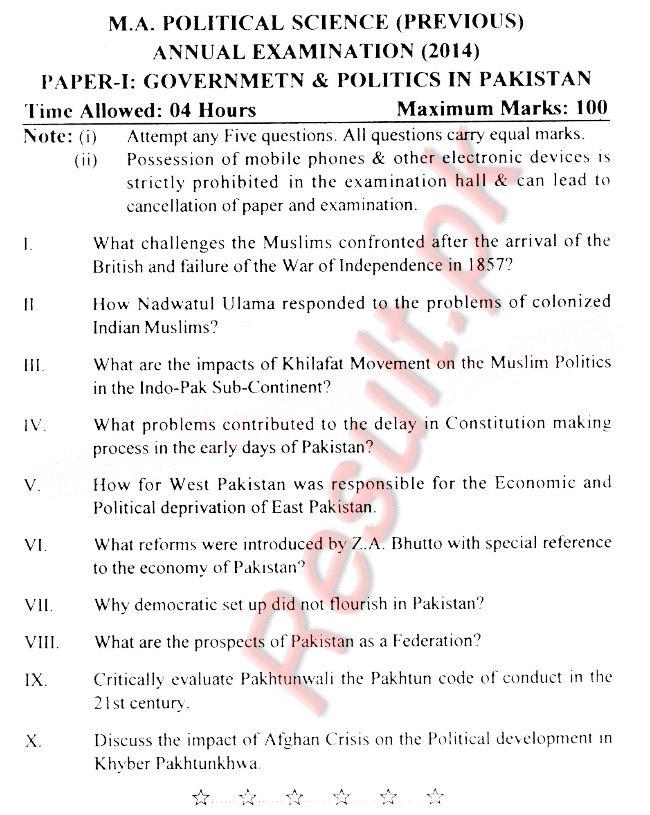 Ma Part 1 Result 2019 Peshawar University