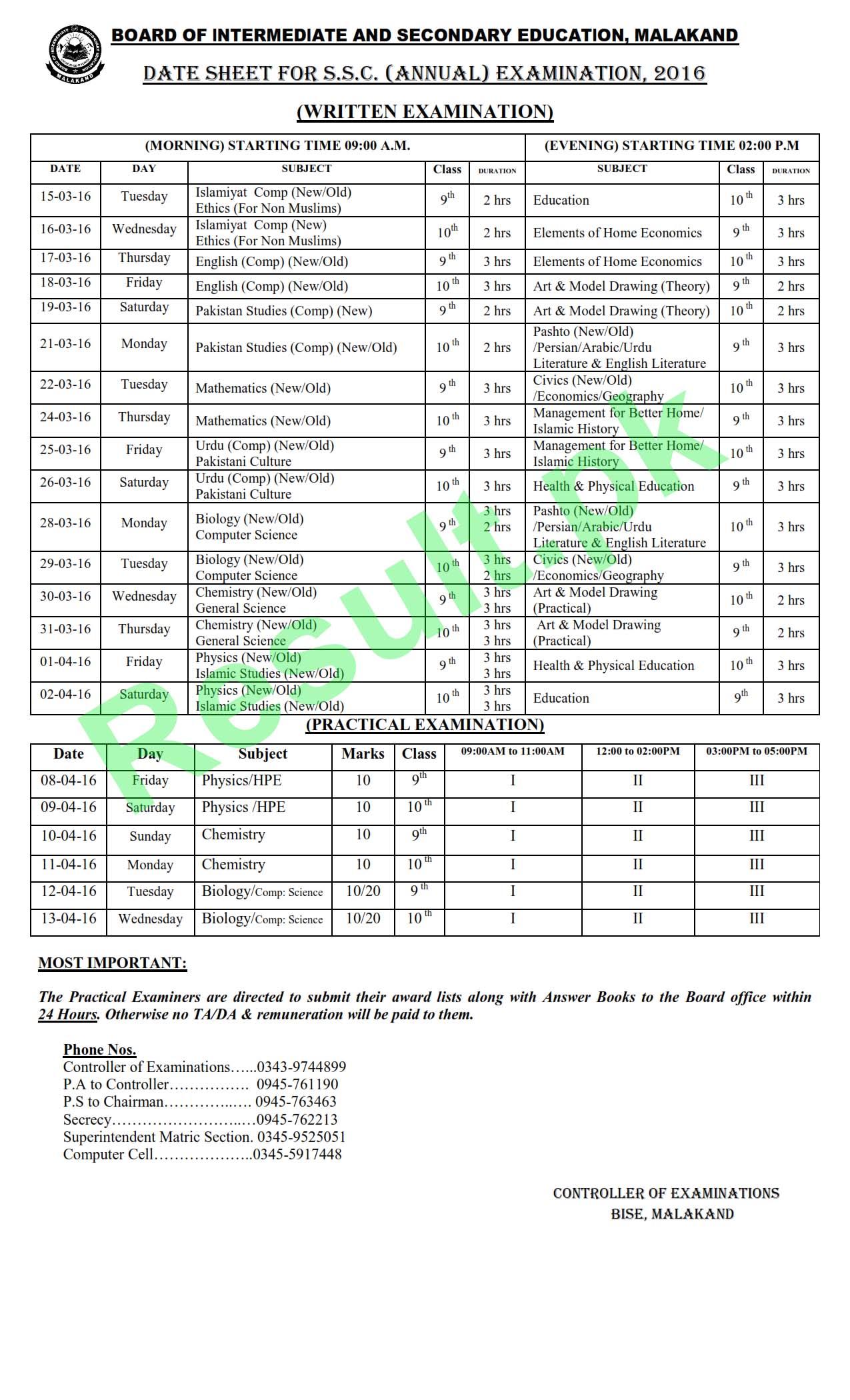 BISE ATD Matric Part 1 Date Sheet 2016