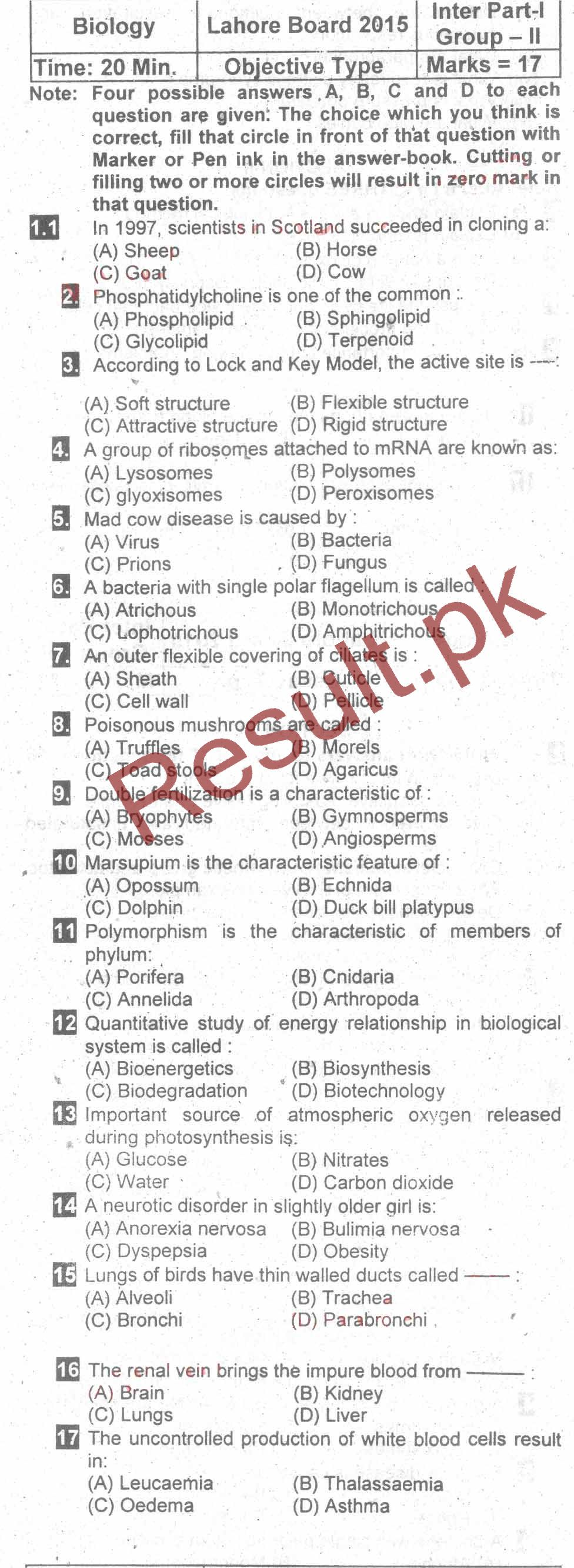 Biology intermediate 1 past papers