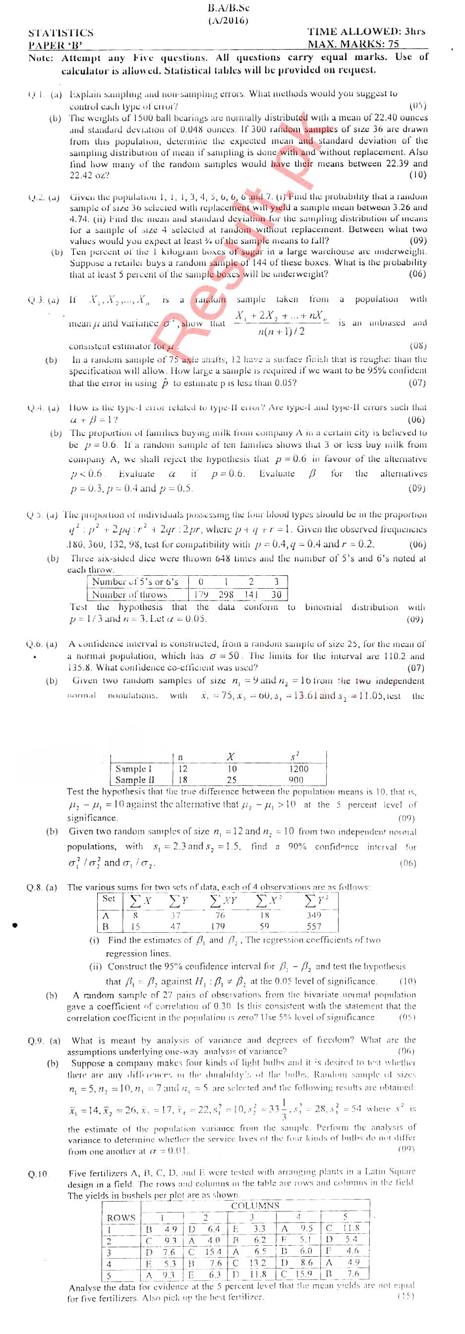 Chapter No 14 Of Statistics For Bsc 2 Notes Pdf