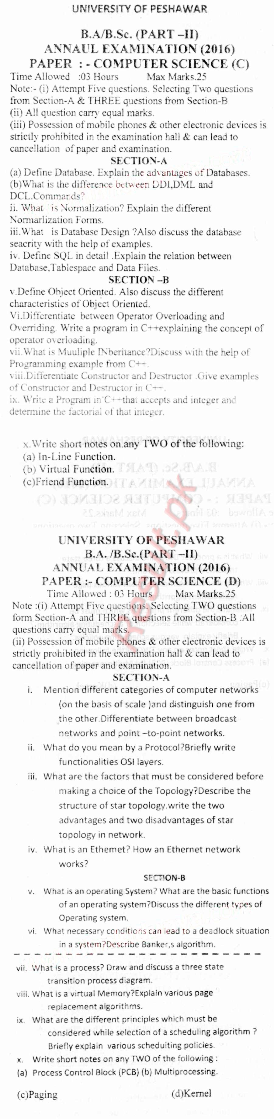University of Peshawar Past Papers 2018, 2017, 2016, upesh Past