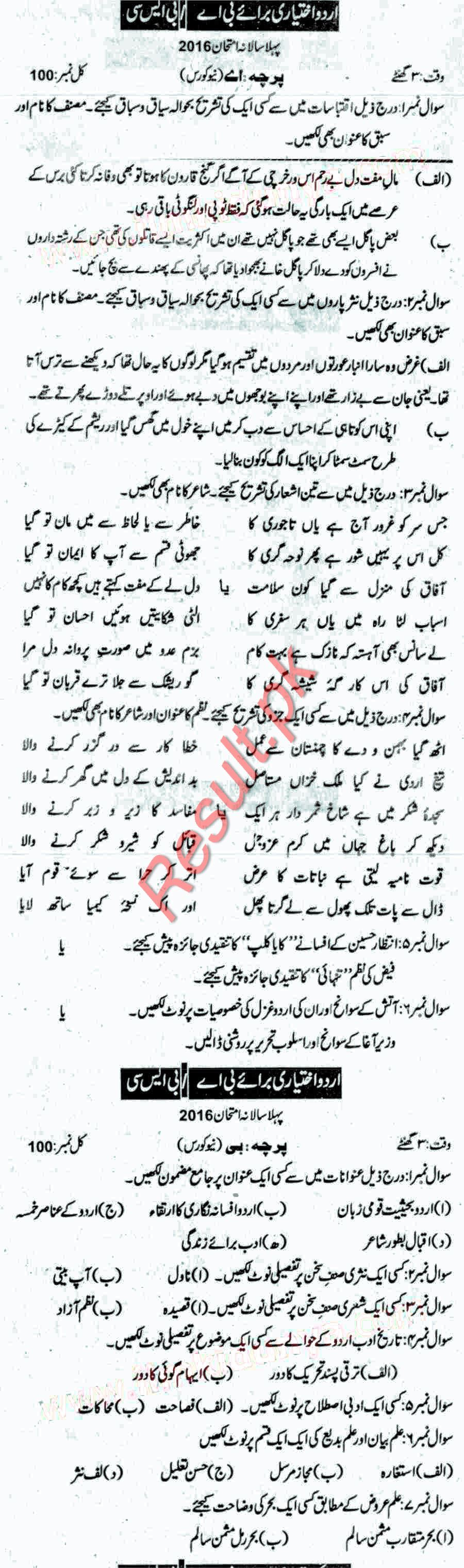 past papers of bsc economics sargodha university
