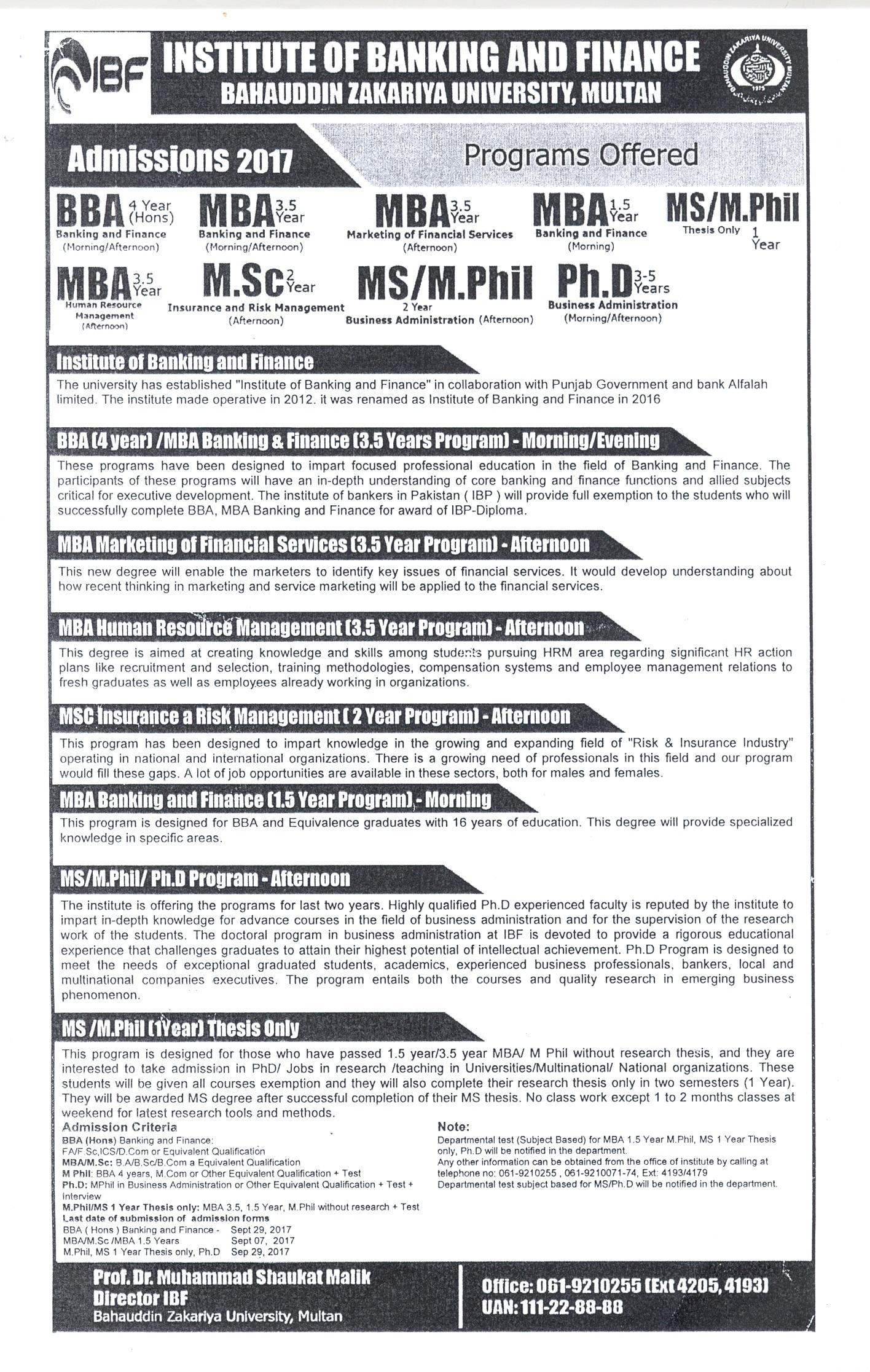 Bahauddin Zakariya University Admissions 2018 bzu Online
