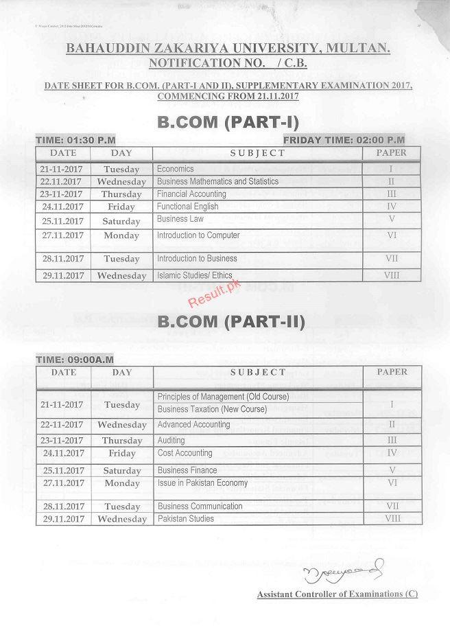 Bahauddin Zakariya University Date Sheet 2019 bzu Annual
