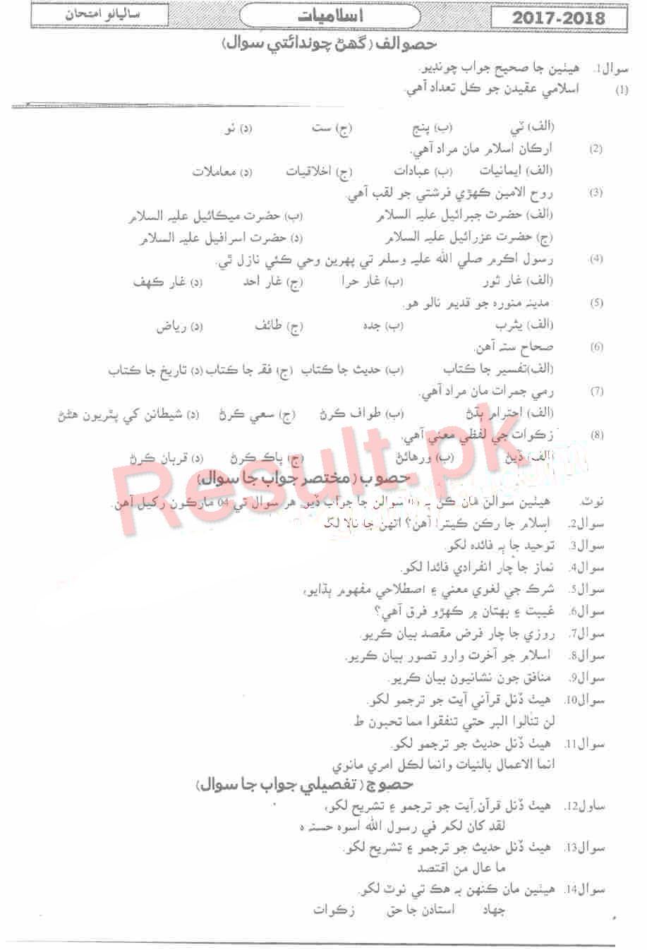 BIEK Karachi Board Past Papers 2019 Inter Part 1 2, FA, HSSC