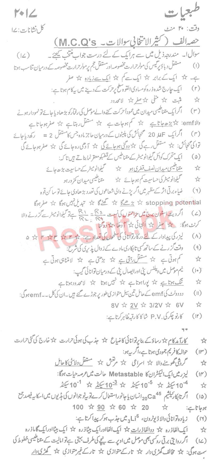 BIEK Karachi Board Past Papers 2019 Inter Part 1 2, FA, HSSC, FSC