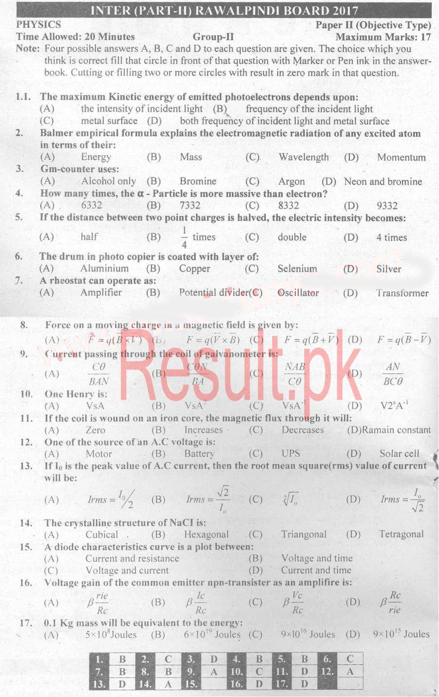 BISE Rawalpindi Board Past Papers 2019 Inter Part 1 2, FA