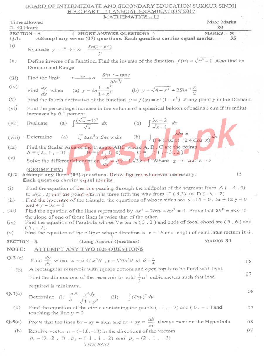 BISE Sukkur Board Past Papers 2019 Inter Part 1 2, FA, HSSC, FSC