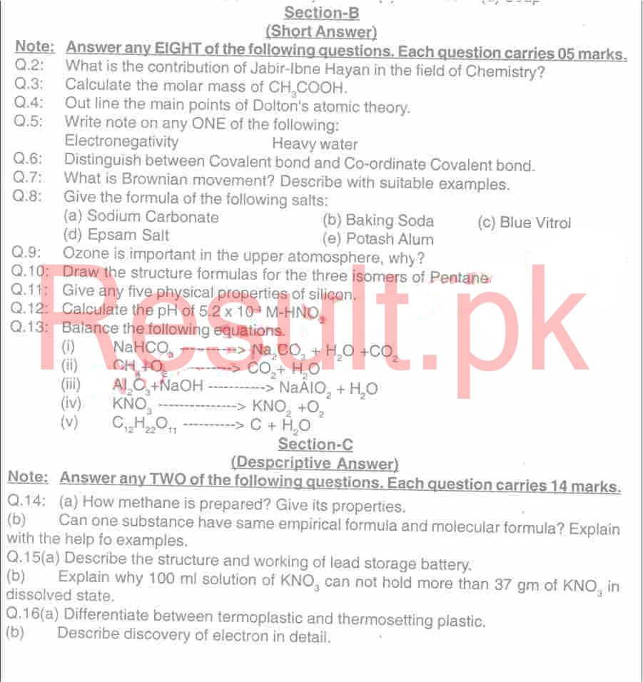 BISE Hyderabad Board Past Papers 2019 Matric, SSC Part 1 & 2, 9th