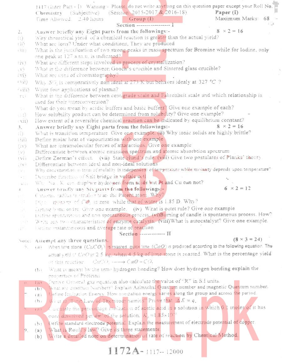 BISE Sargodha FSc First Year Past Papers All Subjects