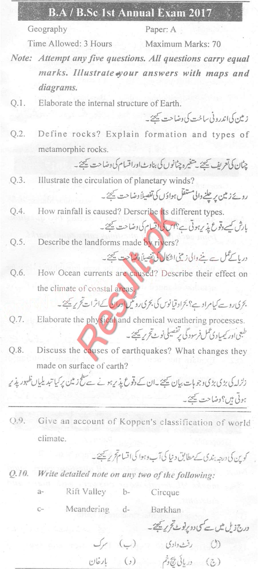 University of Sargodha Past Papers 2018, 2017, 2016, uos