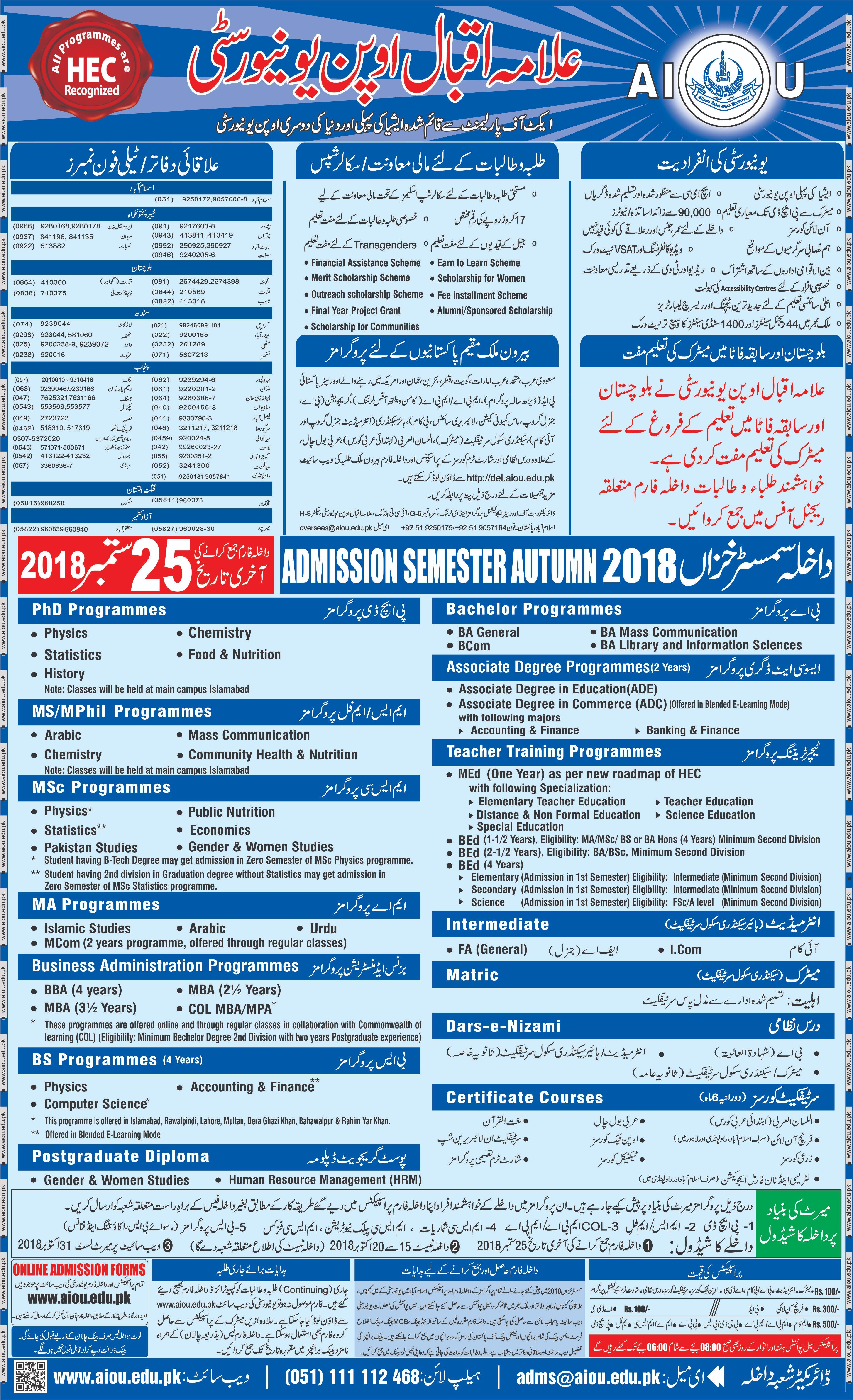 Allama Iqbal Open University Admissions 2019 aiou Online