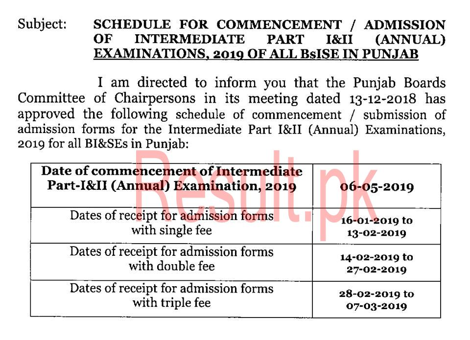 BISE Sahiwal Board Admissions 2019 in School, College