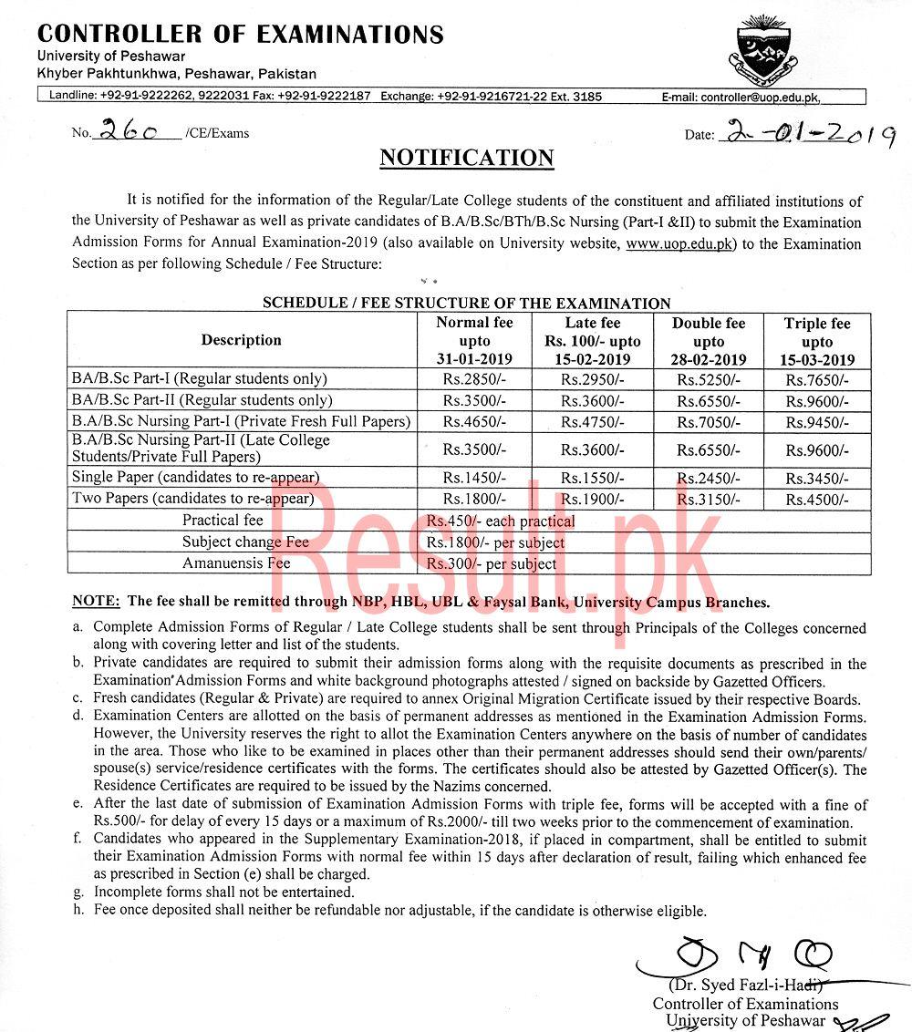University of Peshawar Admissions 2019 upesh Online