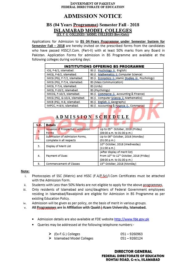 Federal Directorate of Education Admissions 2019 fde Online