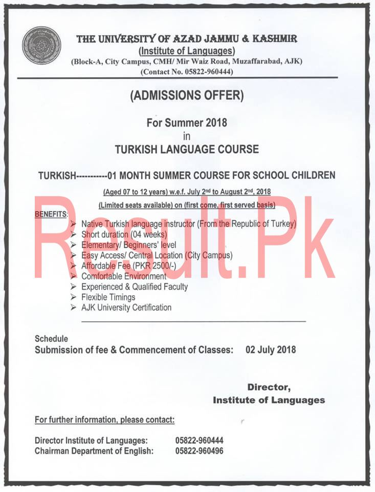 University of Azad Jammu and Kashmir Admissions 2019 ajku Online