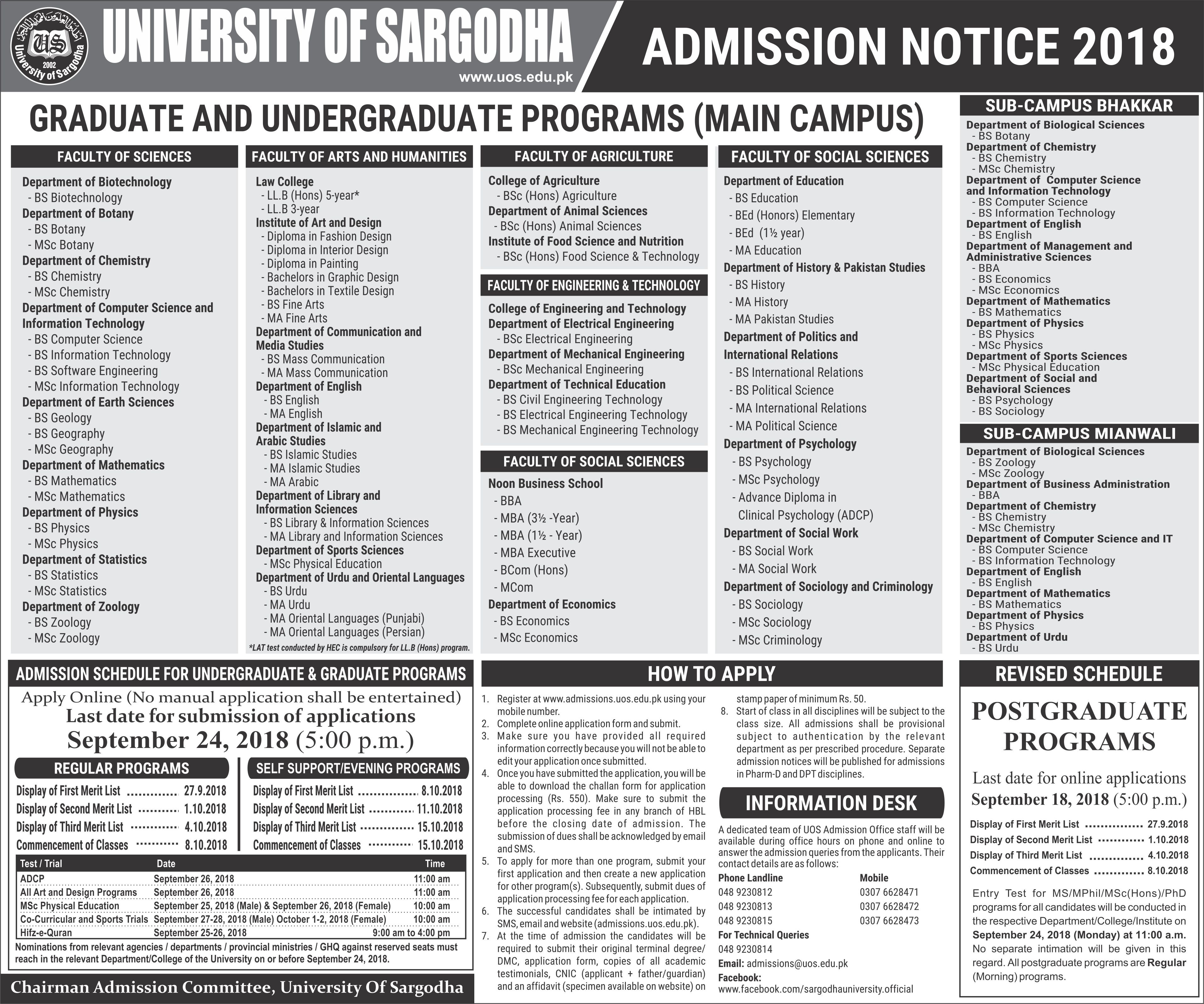 University of Sargodha Admissions 2019 uos Online