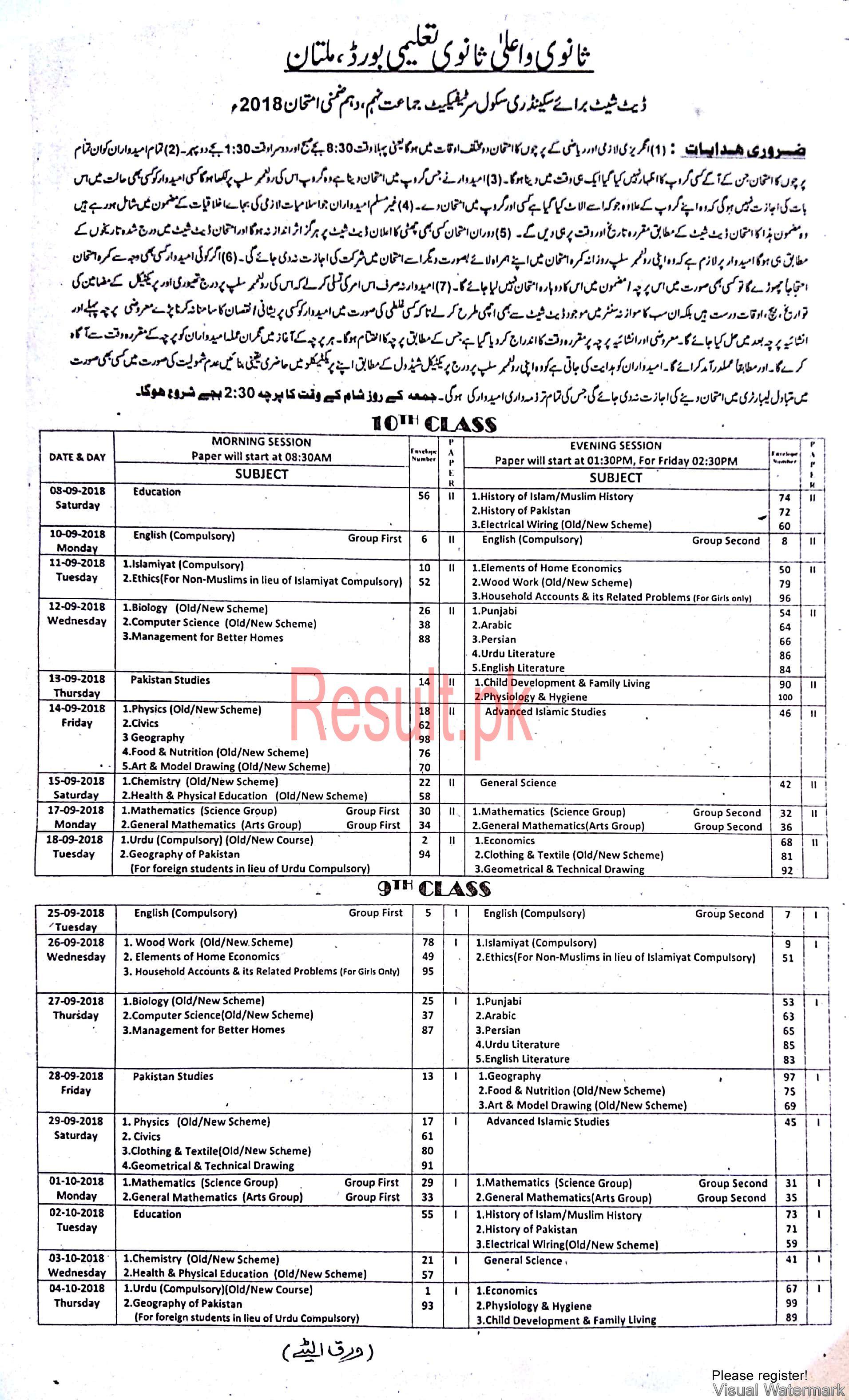 BISE Sargodha Board Date Sheet 2019 Matric Part 1 2, 9th & 10th, SSC