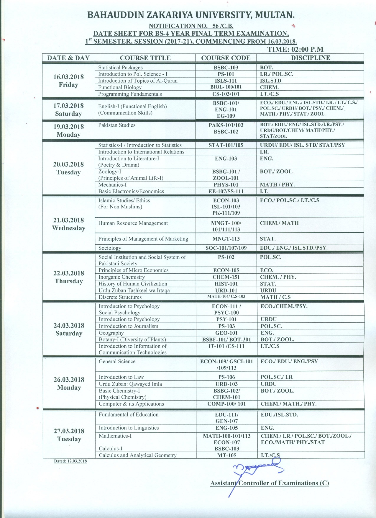Bahauddin Zakariya University Date Sheet 2018 bzu Annual
