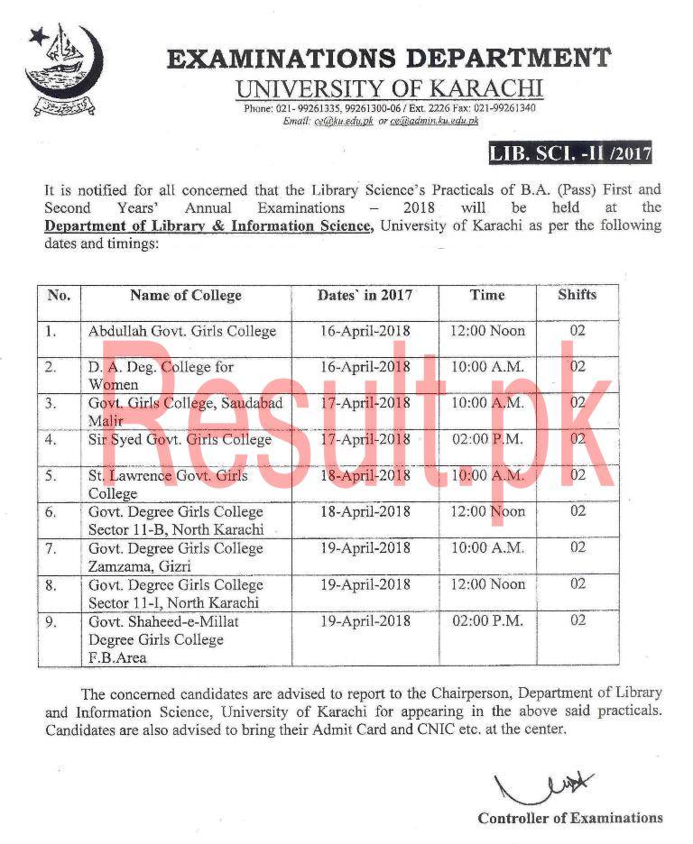 University of Karachi Date Sheet 2018 uok Annual Supply Exams Time Table