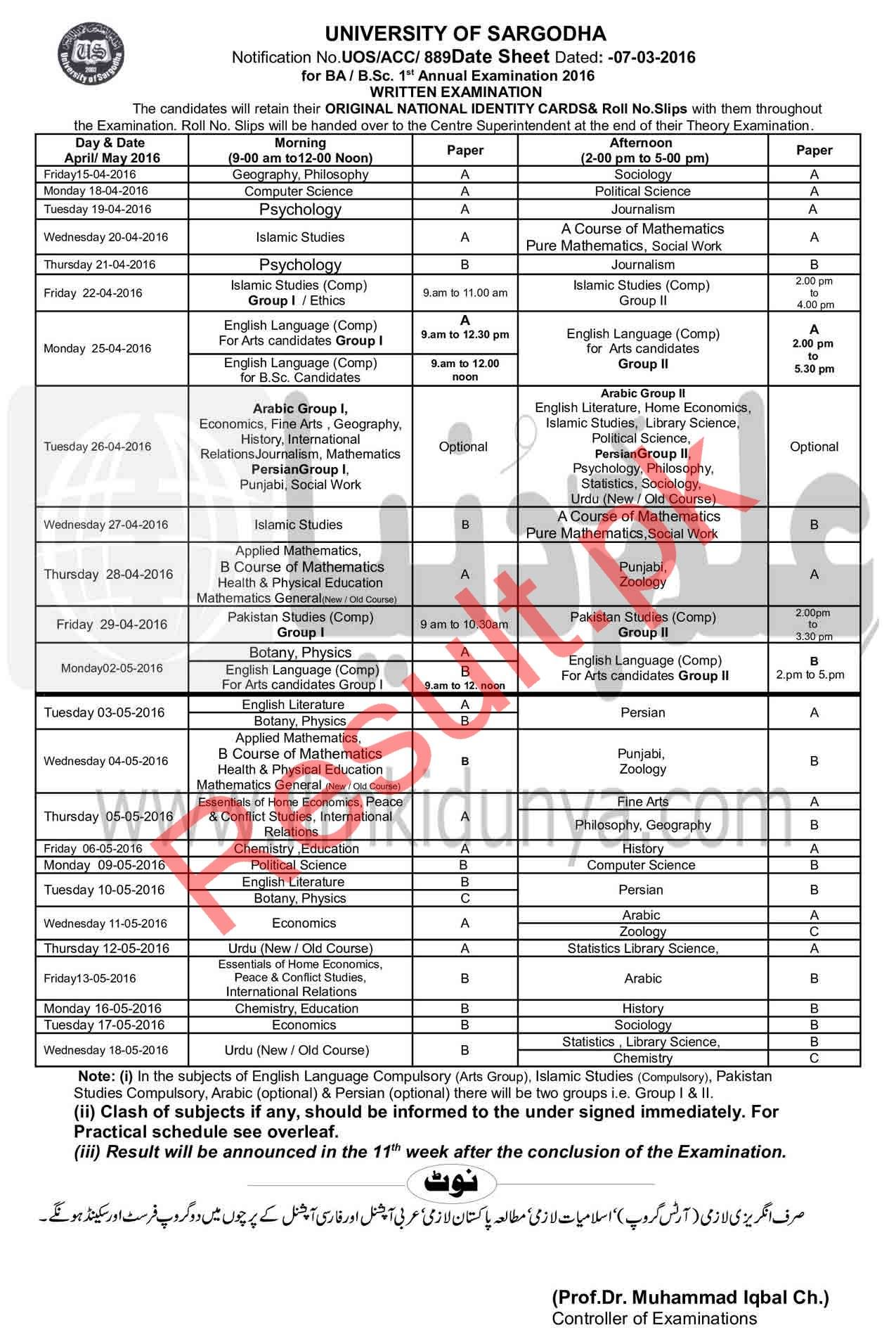 University of Sargodha Date Sheet 2019 uos Annual Supply Exams Time
