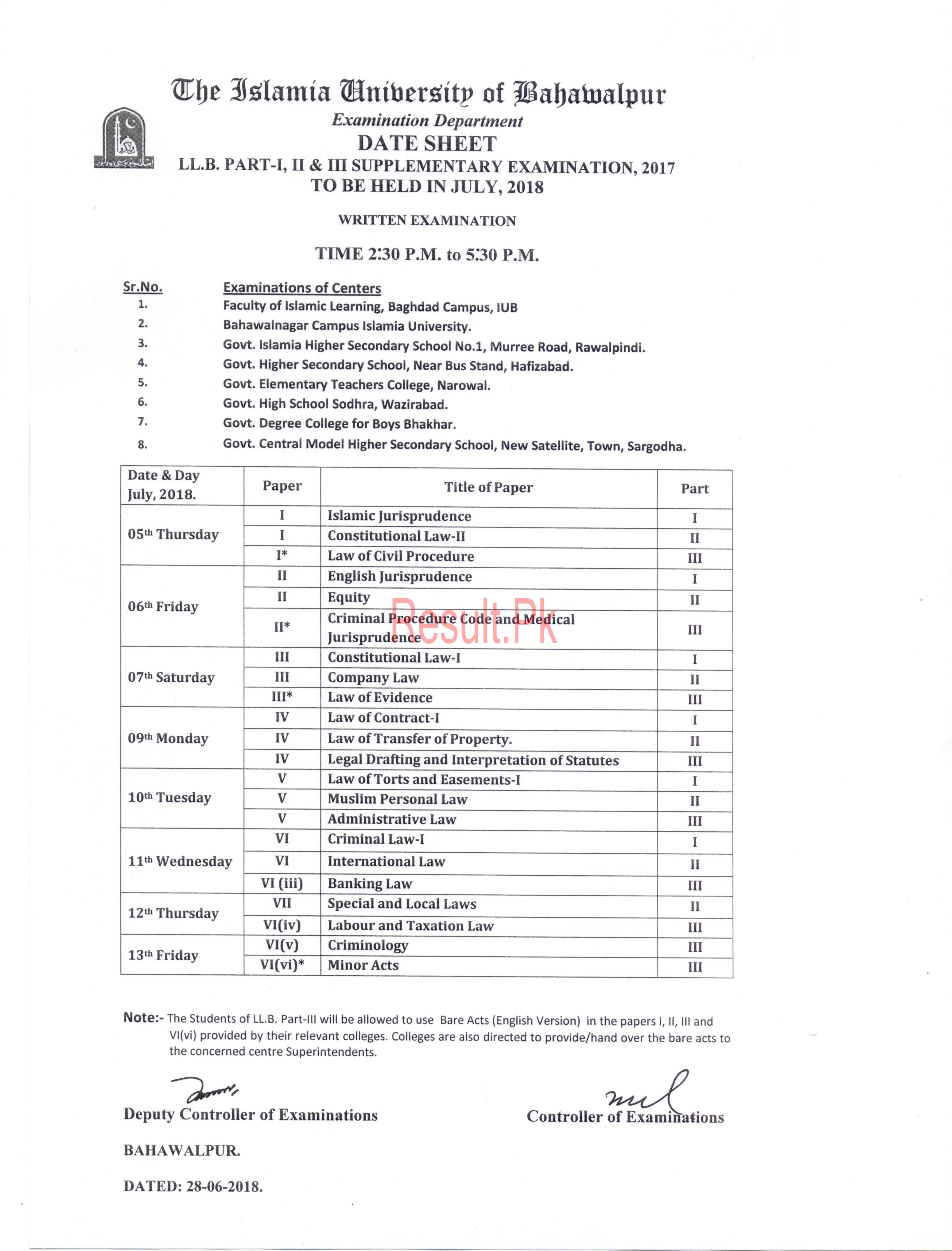 Islamia University Bahawalpur Date Sheet 2018 iub Annual