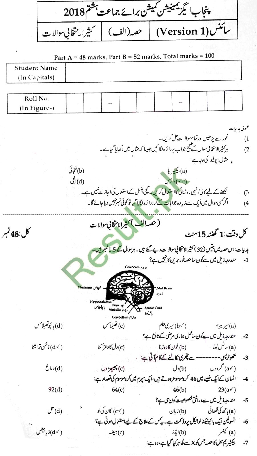 Punjab Education Commission Past Paper 2019 5th Class, Fifth
