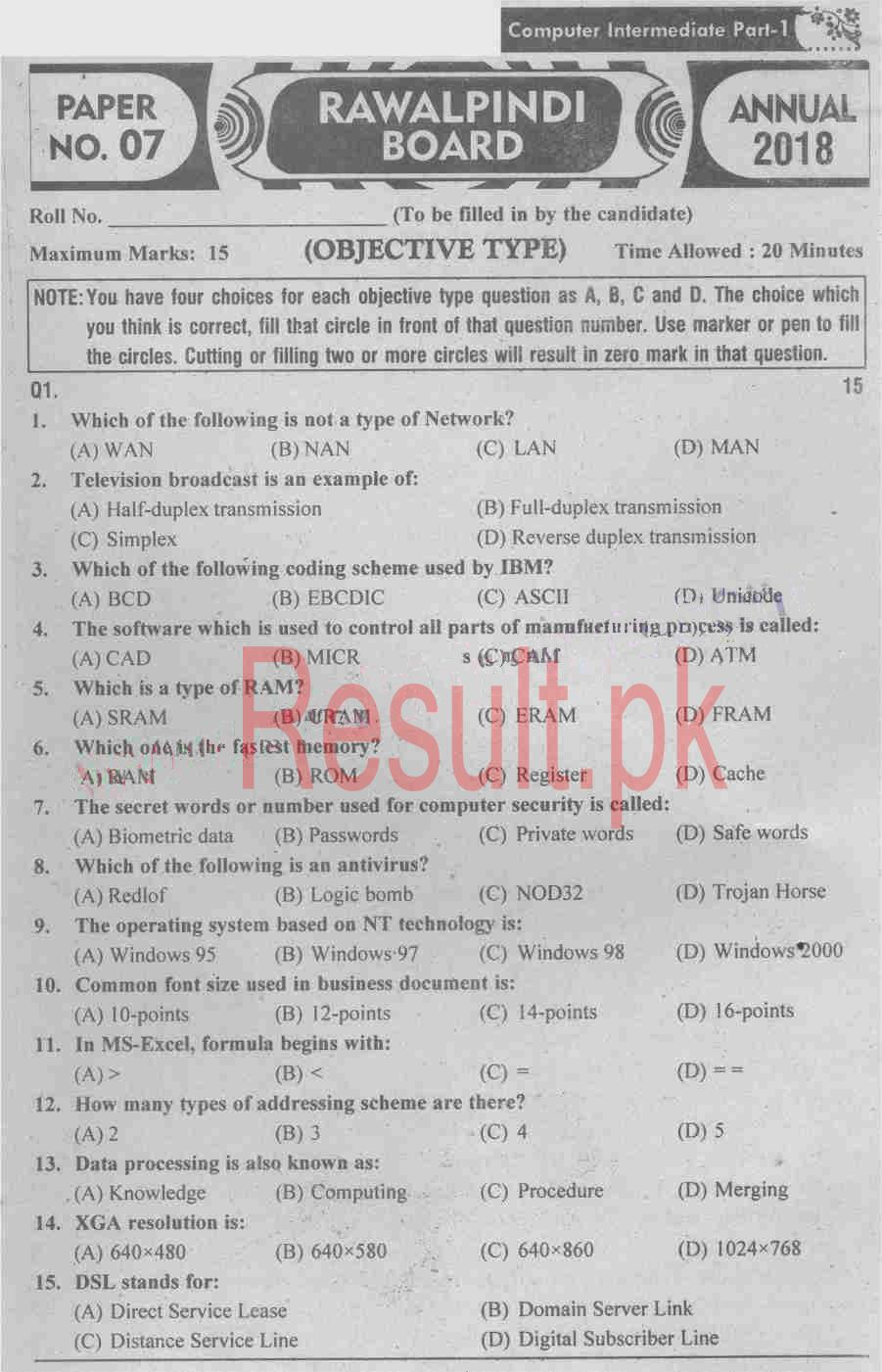 BISE Rawalpindi Board Past Papers 2019 Inter Part 1 2, FA