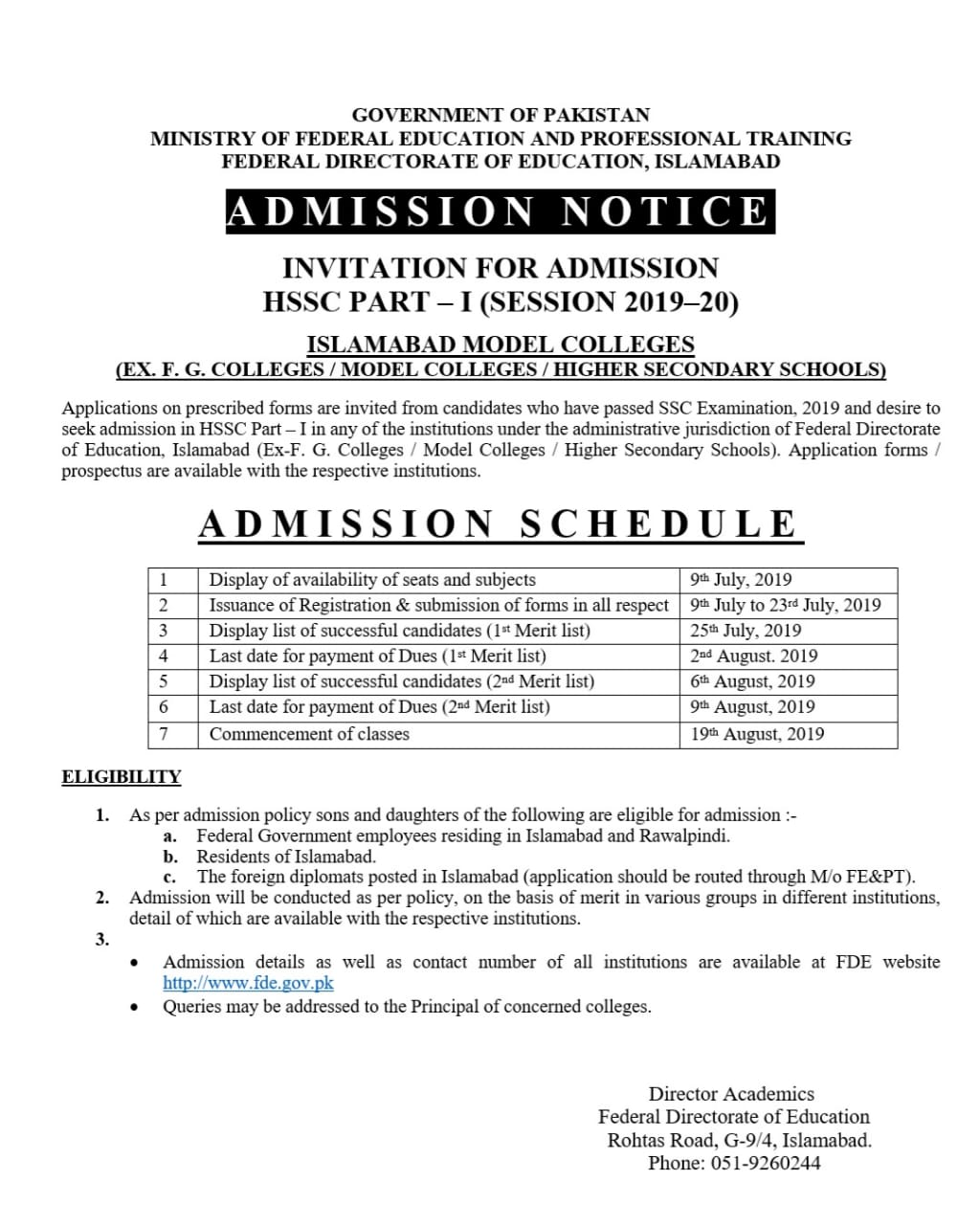 Federal Directorate of Education Admissions 2019 in School, College