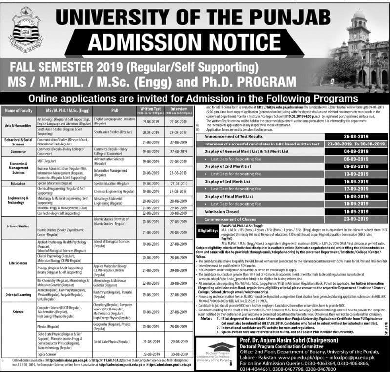 Top Five Punjab University B a Admission Form Online - Circus