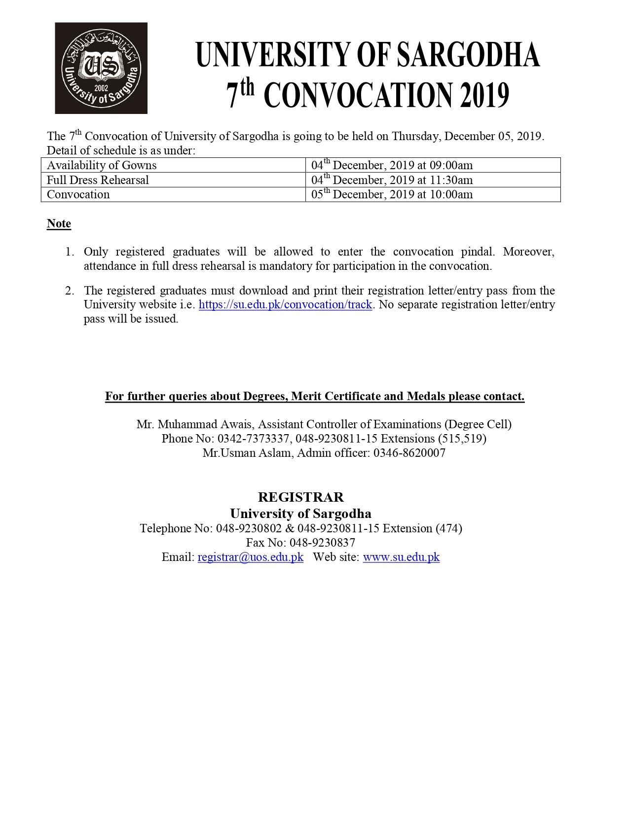 University of sargodha admission 2020