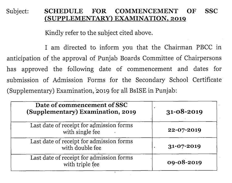 BISE Sahiwal Board Admissions 2019 in School, College, University