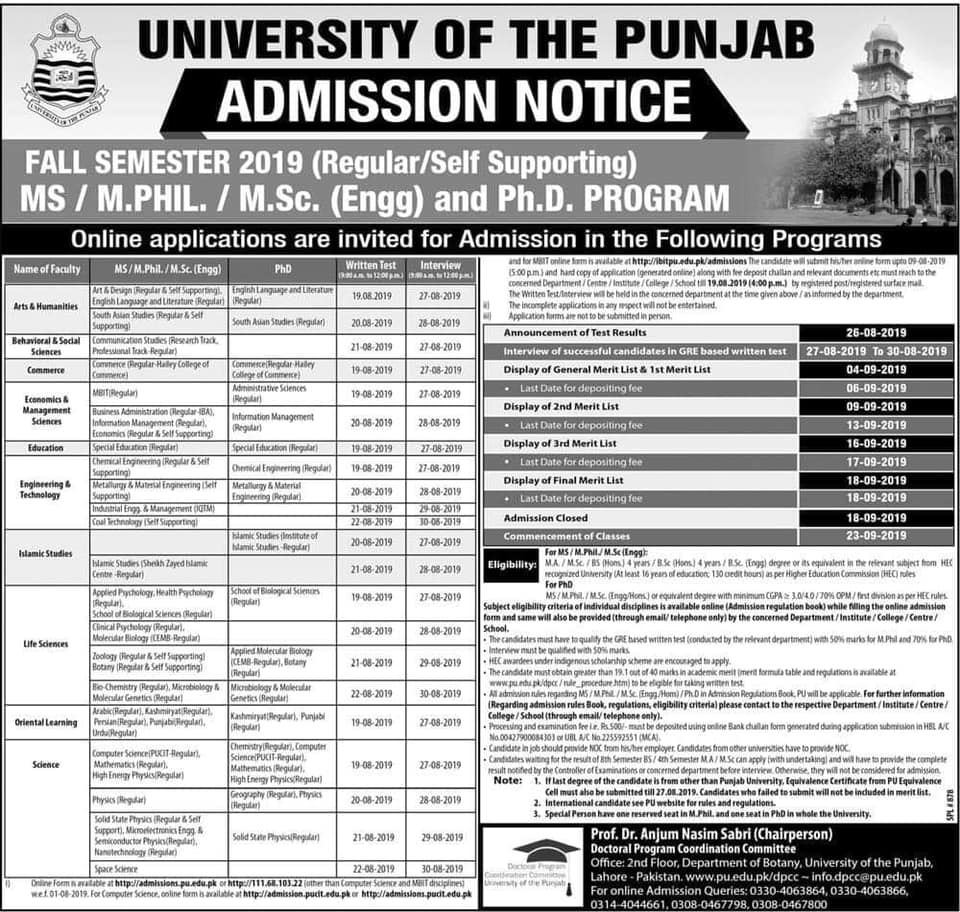 Punjab University Admissions 2019 in School, College, University pu