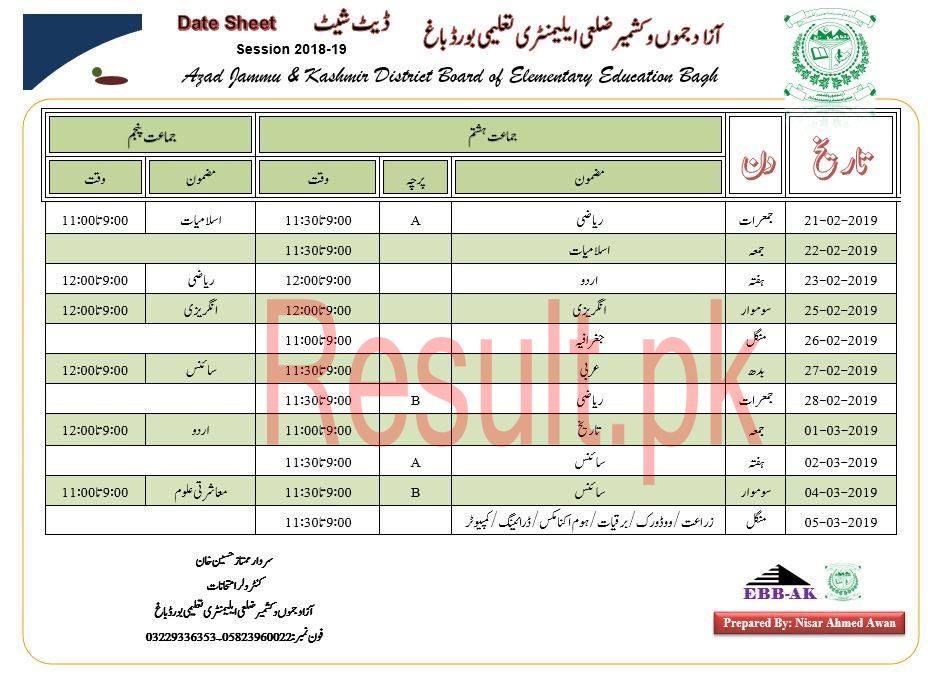 BISE AJK Board Mirpur Date Sheet 2019 Matric Part 1 2, 9th